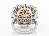 Pre-Owned Brown and White Cubic Ziroconia Rhodium Over Sterling Silver Ring 16.72ctw