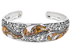 Pre-Owned Spiny Oyster Shell Rhodium Over Silver Cuff Bracelet