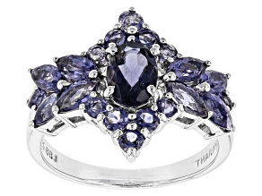 Pre-Owned Blue Iolite Rhodium Over Sterling Silver Ring 1.71ctw