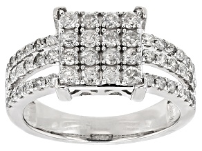 Pre-Owned White Diamond 10k White Gold Ring 1.10ctw