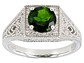 Pre-Owned Green chrome diopside rhodium over sterling silver ring 1.68ctw