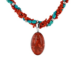 Pre-Owned Red Sponge Coral And Turquoise Rhodium Over Silver Necklace