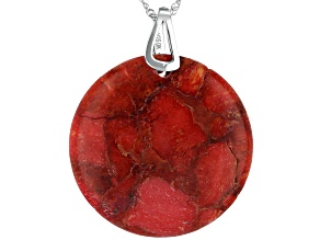 Pre-Owned Red Sponge Coral Rhodium Over Silver Pendant With Chain