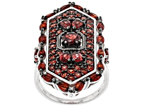 Pre-Owned Red Garnet Rhodium Over Sterling Silver Ring 4.57ctw