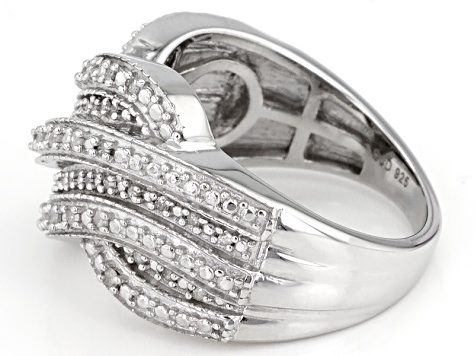Pre-Owned White Diamond Rhodium Over Sterling Silver Ring .25ctw