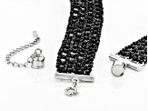 Pre-Owned Black Spinel Rhodium Over Silver Bead Necklace 160.00ctw
