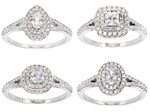 Pre-Owned White Cubic Zirconia Rhodium Over Sterling Silver Rings Set of 4 4.60ctw
