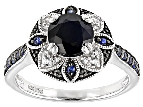 Pre-Owned Blue Sapphire Rhodium Over Sterling Silver Ring 1.75ctw