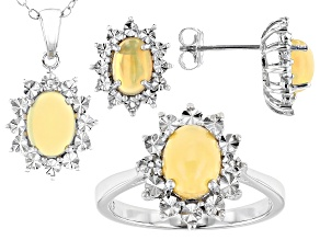 Pre-Owned Ethiopian Opal Rhodium Over Sterling Silver Jewelry Set 0.01ctw