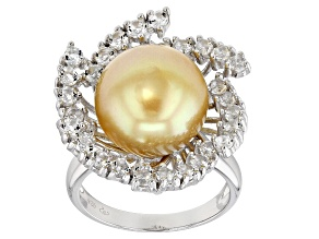 Pre-Owned 12-13mm Cultured Golden South Sea 1.79ctw White Topaz Rhodium Over Sterling Silver Ring
