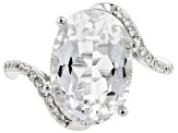 Pre-Owned White Crystal Quartz Rhodium Over Sterling Silver Ring 4.58ctw