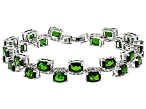 Pre-Owned Green Russian Chrome Diopside Rhodium Over Sterling Silver Bracelet 21.41ctw