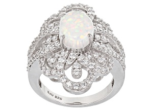 Pre-Owned Lab Created Opal And White Cubic Zirconia Sterling Silver Ring 4.38ctw