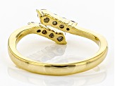 Pre-Owned Moissanite 14k yellow gold over silver ring .28ctw DEW.