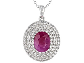 Pre-Owned Ruby Rhodium Over Sterling Silver  Pendant With Chain 4.25ctw
