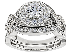 Pre-Owned Swarovski ® White Zirconia Platinum Over Sterling Silver Ring With Band 3.56ctw