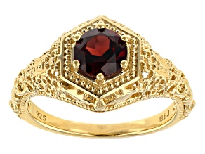 Pre-Owned Red garnet 18k yellow gold over sterling silver ring .92ct