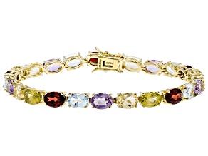 Pre-Owned Multi-gemstones 18k gold over sterling silver bracelet 17.86ctw