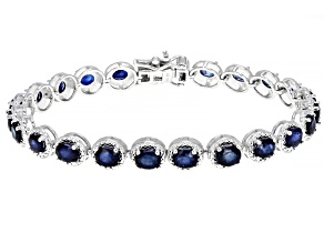Pre-Owned Blue sapphire rhodium over sterling silver bracelet 8.43ctw
