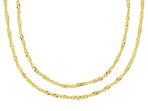 Pre-Owned 18K Yellow Gold Over Sterling Silver Singapore Chain Necklace Set 20, & 24 Inch