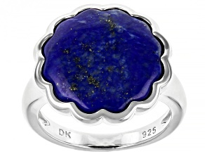 Pre-Owned Blue Lapis Lazuli Rhodium Over Silver Ring