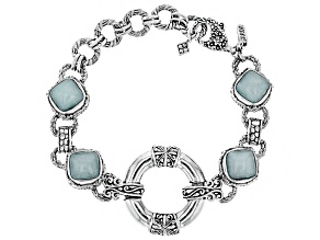 Pre-Owned Aqua Blue Quartzite Silver Bracelet