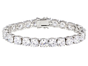 Pre-Owned White Cubic Zirconia Rhodium Over Sterling Silver Tennis Bracelet 33.80ctw