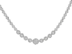Pre-Owned White Cubic Zirconia Rhodium Over Sterling Silver Necklace 9.20ctw