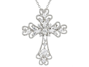 Pre-Owned White Cubic Zirconia Rhodium Over Silver Cross Pendant 1.19ctw
