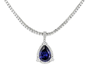 Pre-Owned Blue And White Cubic Zirconia Rhodium Over Sterling Silver Tennis Necklace With Pendant 41
