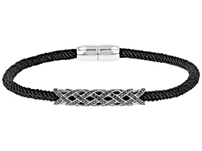 Pre-Owned Black Spinel Rhodium Over Silver Black Cord Bracelet .81ctw