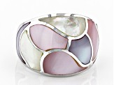 Pre-Owned Pink And White South Sea Mother-of-Pearl Rhodium Over Sterling Silver Ring