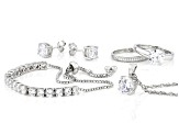 Pre-Owned White Cubic Zirconia Rhodium Over Sterling Silver Jewelry Set 17.52ctw