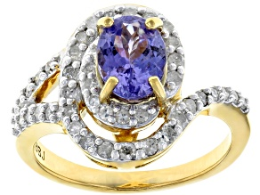 Pre-Owned Blue tanzanite 18k gold over silver ring 1.48ctw