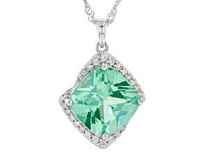 Pre-Owned Green Lab Created Spinel Rhodium Over Silver Pendant With Chain 7.37ctw