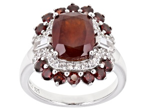 Pre-Owned Red Hessonite Garnet Rhodium Over Sterling Silver Ring 4.88ctw