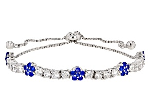 Pre-Owned Lab Blue Spinel Spinel And White Cubic Zirconia Rhodium Over Sterling Bracelet 3.9ctw
