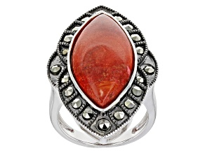 Pre-Owned Red Sponge Coral Rhodium Over Silver Ring