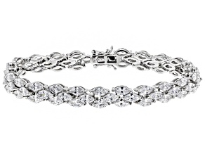 Pre-Owned White Cubic Zirconia Rhodium Over Sterling Silver Tennis Bracelet 25.00ctw