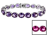 Pre-Owned Purple Lab Created Sapphire Sterling Silver Tennis Bracelet 65.35ctw