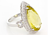 Pre-Owned Canary Yellow Quartz Sterling Silver Ring 6.82ctw