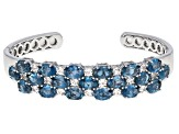 Pre-Owned London Blue Topaz Rhodium Over Sterling Silver Cuff Bracelet 16.99ctw