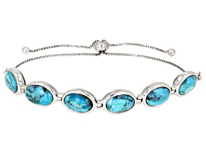 Pre-Owned Blue Turquoise Rhodium Over Sterling Silver Two-Sided Bolo Bracelet