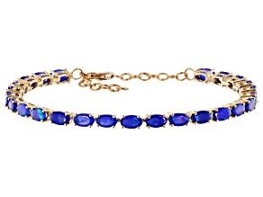Pre-Owned Blue Ethiopian Opal 10k Gold Bracelet 3.38ctw