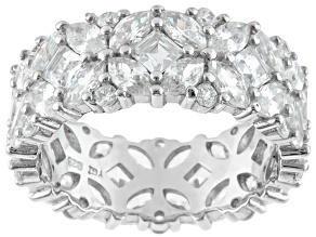 Pre-Owned Cubic Zirconia Rhodium Over Sterling Silver Ring 10.50ctw