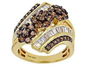 Pre-Owned Brown And White Cubic Zirconia 18K Yellow Gold Over Sterling Silver Ring 4.38ctw