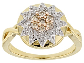 Pre-Owned Engild™ Champagne And White Diamond 14k Yellow Gold Over Sterling Silver Ring 0.33ctw