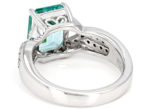Pre-Owned Green Lab Created Spinel Rhodium Over Sterling Silver Ring 3.67ctw