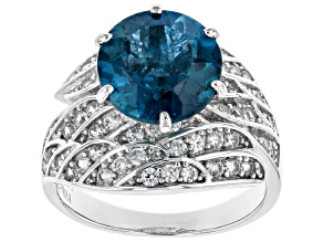 Pre-Owned Blue Topaz Rhodium Over Sterling Silver Ring 5.88ctw
