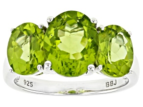 Pre-Owned Green peridot rhodium over sterling silver 3-stone ring 4.60ctw